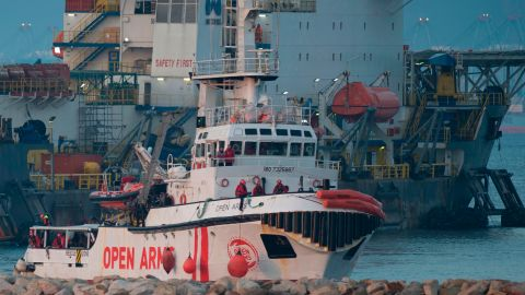The ship of Spanish NGO Proactiva Open Arms arrives in the southern Spanish port of Algeciras in Campamento near San Roque, with 311 migrants on board,on December 28.