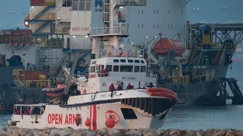 The ship of Spanish NGO Proactiva Open Arms arrives in the southern Spanish port of Algeciras in Campamento near San Roque, with 311 migrants on board,on December 28, 2018. - The Spanish NGO Proactiva Open Arms' ship which rescued 311 migrants in distress off Libya docked in Spain today after roaming the Mediterranean for days. (Photo by JORGE GUERRERO / AFP)        (Photo credit should read JORGE GUERRERO/AFP/Getty Images)