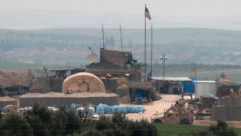 US forces' vehicles and structures are seen on the outskirts of the northern Syrian town of Manbij in the village of Dadat.