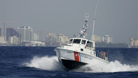 MIAMI - MARCH 08:  A U.S. Coast Guard boat participates in the Homeland Security Task Force Southeast  mass migration drill March 8, 2007 off the shore of  Miami, Florida. Hundreds of response personnel from more than 50 local, county, state and federal agencies participated in the two-day exercise that was simulating a large, sudden change in the migration process in Cuba and the United States' response.  (Photo by Joe Raedle/Getty Images)