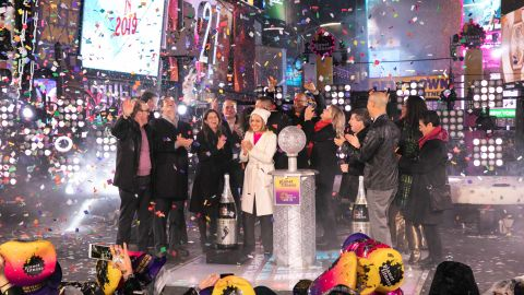 Journalists celebrate 2019's arrival in Times Square.