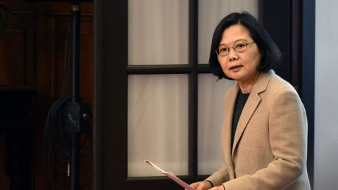 Taiwan's President Tsai Ing-wen arrives for a press conference at the Presidential Palace after the national flag raising ceremony in Taipei on January 1, 2019.