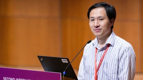 Chinese scientist He Jiankui speaks at the Second International Summit on Human Genome Editing in Hong Kong on November 28, 2018. (Photo by Anthony WALLACE / AFP)        (Photo credit should read ANTHONY WALLACE/AFP/Getty Images)
