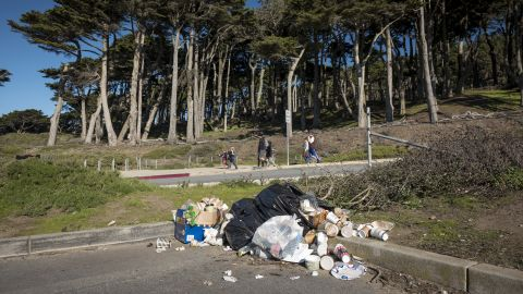 Garbage piles up Wednesday at Golden Gate National Recreation Park in San Francisco.