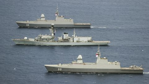 Pictured: HMS Argyll (center) takes part in a large scale PHOTEX with the Malysian, Singapore, Australian and New Zealand Navy in the South China Sea whilst on Exercise Bersama Lima 2018.  HMS ARGYLL TAKES PART IN LARGE SCALE FORMATION SAILING  On Saturday 13th October 2018, HMS Argyll took part in a large scale formation sailing exercise which in turn was covered overhead by a photographic exercise (PHOTEX). The Photex saw 13 ships in total sailing in close proximity during Exercise Bersama Lima 18. The exercise which has finished on training serials will now move into the next phase of a War Exercise the following week which will test the reactions of all the nations taking part including UK, New Zealand, Australia, Singapore and Malaysia.  Credit: LPhot Dan Rosenbaum HMS Argyll