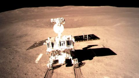 """This picture taken on January 3, 2019 and received on January 4 from the China National Space Administration (CNSA) via CNS shows a robotic lunar rover on the """"dark side"""" of the moon. - A Chinese lunar rover landed on the far side of the moon on January 3, in a global first that boosts Beijing's ambitions to become a space superpower. (Photo by China National Space Administration (CNSA) via CNS / China National Space Administration (CNSA) via CNS / AFP) / China OUT        (Photo credit should read CHINA NATIONAL SPACE ADMINISTRAT/AFP/Getty Images)"""