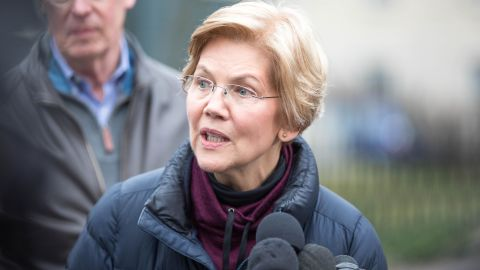 CAMBRIDGE, MA - DECEMBER 31:  Sen. Elizabeth Warren (D-MA), addresses the media outside of her home after announcing she formed an exploratory committee for a 2020 Presidential run on December 31, 2018 in Cambridge, Massachusetts. Warren is one of the earliest potential candidates to make an official announcement in what is expected to be a very large Democratic field. (Photo by Scott Eisen/Getty Images)