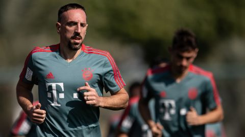 Franck Ribery warms up during the Bayern Munich training camp in Doha.