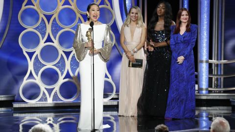 Sandra Oh accepting the award for best performance by an actress in a TV drama