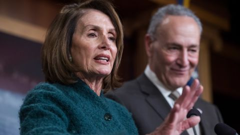 UNITED STATES - MARCH 22: House Minority Leader Nancy Pelosi, D-Calif., and Senate Minority Leader Charles Schumer, D-N.Y., conduct a news conference in the Capitol on the passage of the omnibus spending bill in the House on March 22, 2018. (Photo By Tom Williams/CQ Roll Call)