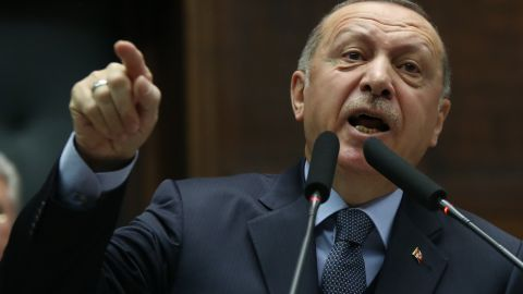 Turkey's President and leader of Turkey's ruling Justice and Development (AK) Party Recep Tayyip Erdogan makes a speech during his party's parliamentary group meeting at the Grand National Assembly of Turkey in Ankara on January 8, 2019. (Photo by Adem ALTAN / AFP)        (Photo credit should read ADEM ALTAN/AFP/Getty Images)