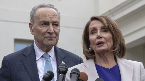 House Speaker Nancy Pelosi (2nd-R), D-CA; Senate Minority Leader Chuck Schumer (2nd-L); D-NY, Rep. Steny Hoyer (L), D-MD; and Senator Dick Durbin (R), D-IL, speak with reporters at the White House following a meeting with US President Donald Trump to discuss the partial government shutdown, January 4, 2019 in Washigton, DC. (Photo by Alex Edelman / AFP)        (Photo credit should read ALEX EDELMAN/AFP/Getty Images)