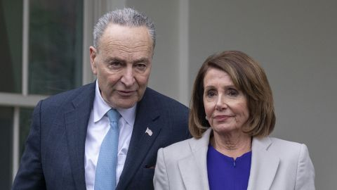House Speaker Nancy Pelosi (2nd-R), D-CA; Senate Minority Leader Chuck Schumer (2nd-L) D-NY; Rep. Steny Hoyer (L), D-MD; and Senator Dick Durbin (R), D-IL, exit the White House after meeting with US president Donald Trump to discuss the partial government shutdown, January 4, 2019 in Washigton, DC. (Photo by Alex Edelman / AFP)        (Photo credit should read ALEX EDELMAN/AFP/Getty Images)