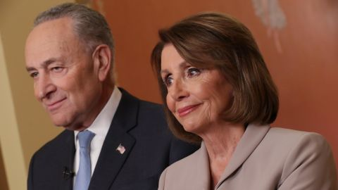 Speaker of the House Nancy Pelosi (D-CA) and Senate Minority Leader Charles Schumer (D-NY) pose for photographs after delivering a televised response to President Donald Trump's national address about border security at the U.S. Capitol January 08, 2019 in Washington, DC. (Chip Somodevilla/Getty Images)
