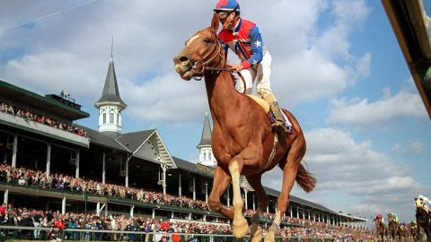 """Whitaker's image of French horse Arazi pulling off a stunning last-to-first victory in the 1991 Breeder's Cup at Churchill Downs made his name. """"He went through the field like it was 'National Velvet' or some ridiculous film like that. I got this image of jockey Pat Valenzuela screaming his head off against the spires of Churchill Downs. My lot were blown away, it was a big breakthrough."""""""