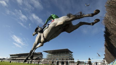 """Whitaker's luck was in with this picture from Cheltenham last January when he discovered the flying horseshoe. It was part of his portfolio that won an eighth photographer of the year award. """"It was a remote picture from under the fence shooting into a clear blue sky. It was a nice picture anyway but the fact the shoe fell off and pointed upright was just unique. I'd never seen anything like it. That's why photography is so exciting."""""""