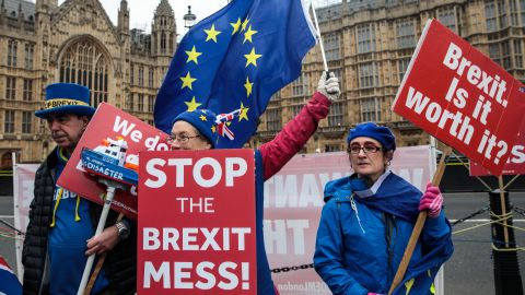 LONDON, ENGLAND - JANUARY 07: Anti-Brexit protesters demonstrate with flags outside the Houses of Parliament in Westminster on January 7, 2019 in London, England. MPs in Parliament are to vote on Theresa May's Brexit deal next week after last month's vote was called off in the face of a major defeat. (Photo by Jack Taylor/Getty Images)