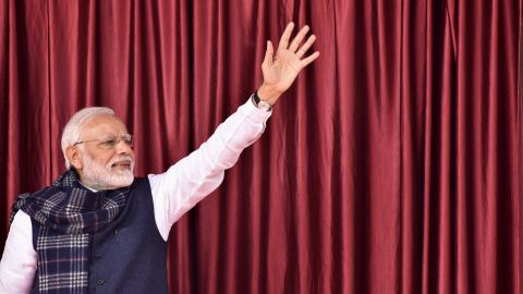 Indian Prime Minister Narendra Modi waves to a crowd on January 5.