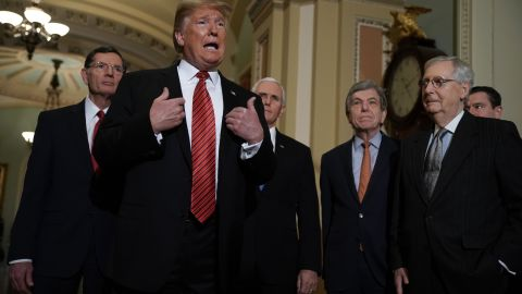 WASHINGTON, DC - JANUARY 09:  U.S. President Donald Trump (2nd L) speaks to members of the media as (L-R) Sen. John Barrasso (R-WY), Vice President Mike Pence, Sen. Roy Blunt (R-MO), and Senate Majority Leader Sen. Mitch McConnell (R-KY) listen at the U.S. Capitol after the weekly Republican Senate policy luncheon January 09, 2019 in Washington, DC. Trump met with GOP lawmakers to shore up their resolve and support for his proposed border wall with Mexico as the partial federal government shutdown drags into a third week.