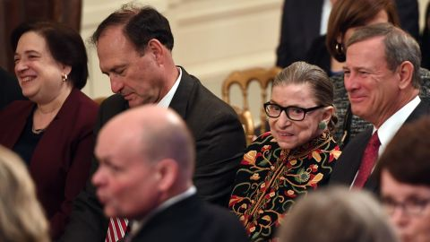 Ginsburg and other Supreme Court justices attend a Presidential Medal of Freedom ceremony at the White House in November 2018.
