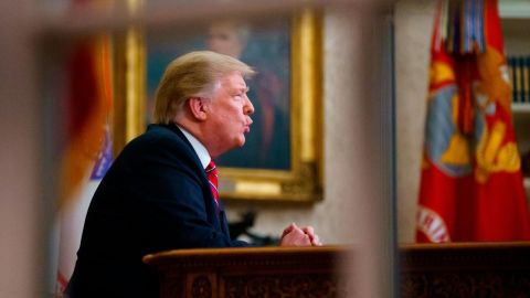 """President Trump gives a prime-time address about border security on January 8. In his Oval Office address, Trump warned of """"a growing humanitarian and security crisis at our southern border."""""""