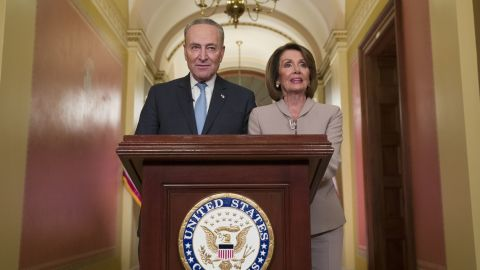 """Senate Minority Leader Chuck Schumer and House Speaker Nancy Pelosi delivered a rebuttal after Trump's speech. """"President Trump must stop holding the American people hostage, must stop manufacturing a crisis and must reopen the government,"""" Pelosi said."""