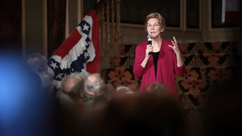 SIOUX CITY, IOWA - JANUARY 05: Sen. Elizabeth Warren (D-MA) speaks to guests during an organizing event at the Orpheum Theater on January 5, 2019 in Sioux City, Iowa. Warren announced on December 31 that she was forming an exploratory committee for the 2020 presidential race.  (Photo by Scott Olson/Getty Images)