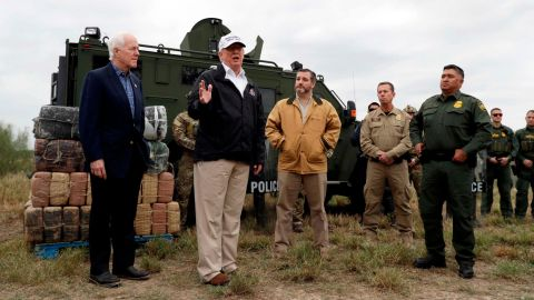 """Trump is joined by US Sens. John Cornyn, left, and Ted Cruz as <a href=""""https://www.cnn.com/2019/01/10/politics/trump-southern-border-visit/index.html"""" target=""""_blank"""">he visits the US-Mexico border</a> near Mission, Texas, on Thursday, January 10. Trump, surrounded by border patrol agents, said: """"We need security. We need the kind of backup they want."""""""