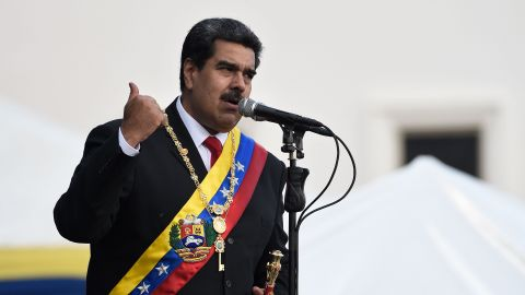 Venezuela's President Nicolas Maduro delivers a speech during the ceremony of recognition by the Bolivarian National Armed Forces (FANB) after being sworn in for a second term, at the Fuerte Tiuna Military Complex, in Caracas on January 10, 2019. - Maduro begins a new term that critics dismiss as illegitimate, with the economy in free fall and the country more isolated than ever. (Photo by Federico PARRA / AFP)        (Photo credit should read FEDERICO PARRA/AFP/Getty Images)