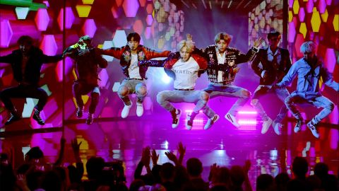 K-pop group BTS performs during the 2017 American Music Awards in Los Angeles, California.