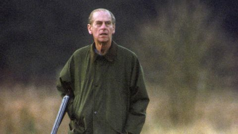Prince Phillip hunts at the Sandringham estate in 1994.