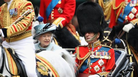 The Queen and Prince Philip attend the annual Trooping the Colour ceremony in June 2011.
