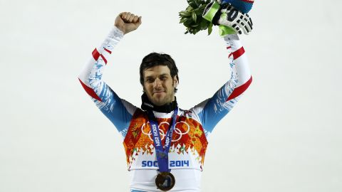 SOCHI, RUSSIA - FEBRUARY 22: (FRANCE OUT) Mario Matt of Austria wins the gold medal during the Alpine Skiing Men's Slalom at the Sochi 2014 Winter Olympic Games at Rosa Khutor Alpine Centre on February 22, 2014 in Sochi, Russia. (Photo by Alexis Boichard/Agence Zoom/Getty Images)