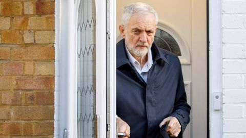 Britain's Labour Party leader Jeremy Corbyn leaves his home in London in January.