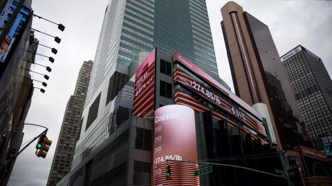 Monitors display copper prices outside of Morgan Stanley headquarters in New York on December 17, 2018.