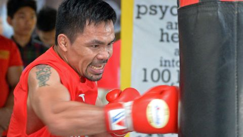 This photo taken on May 17, 2018 shows Philippine boxing icon Manny Pacquiao during a training session at a gym in Manila, ahead of his world welterweight boxing championship bout against Argentina's Lucas Matthysse in July. (Photo by TED ALJIBE / AFP)        (Photo credit should read TED ALJIBE/AFP/Getty Images)