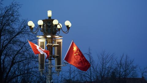 BEIJING, CHINA - DECEMBER 04:  China and Canada flag is displayed in front of the Forbidden City on December 4, 2017 in Beijing, China. At the invitation of Premier Li Keqiang of the State Council of China, Prime Minister of Canada, Justin Trudeau will pay an official visit to China from Dec 3 to 7.  (Photo by Lintao Zhang/Getty Images)