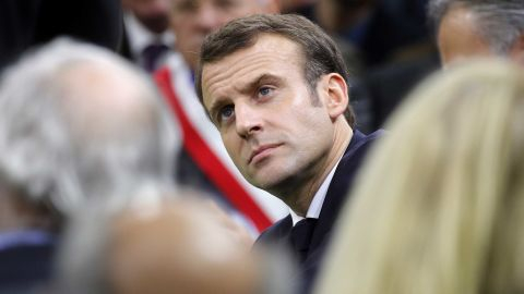 """French President Emmanuel Macron attends the """"grand debate"""" with mayors from rural Normandy in Grand Bourgtheroulde, France, Tuesday, Jan.15, 2019. French President Emmanuel Macron encouraged people to express their list of grievances and propose changes to the country's economy during a """"grand debate"""" aimed at appeasing the yellow vest movement, following weeks of anti-government protests. (Philippe Wojazer/Pool Photo via AP)"""