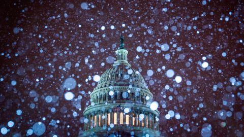 The Capitol amid the snowfall on January 13.