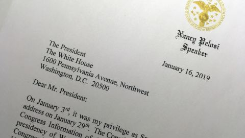 """A portion of a letter that House Speaker Nancy Pelosi sent to President Trump on January 16 asks him to <a href=""""https://www.cnn.com/2019/01/16/politics/nancy-pelosi-asks-trump-move-state-of-the-union-address/index.html"""" target=""""_blank"""">postpone his upcoming State of the Union address</a> until the government reopens."""
