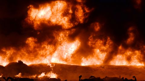 A fire rages after a gasoline pipeline explosion Friday, January 18, in Tlahuelilpan, Mexico, about 80 miles north of Mexico City.