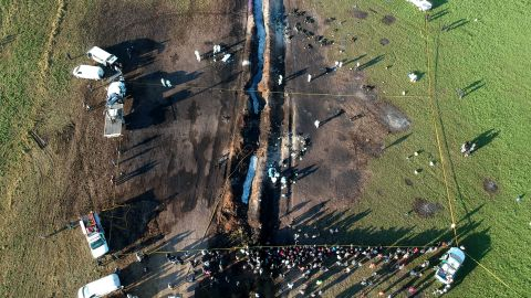 An aerial view shows the scope of the disaster scene January 19 in Mexico's Hidalgo state.