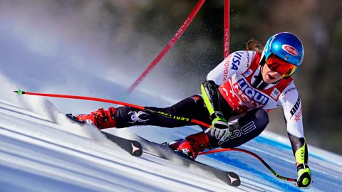 CORTINA D'AMPEZZO, ITALY - JANUARY 20 : Mikaela Shiffrin of USA takes 1st place during the Audi FIS Alpine Ski World Cup Women's Super G on January 20, 2019 in Cortina d'Ampezzo Italy. (Photo by Francis Bompard/Agence Zoom/Getty Images)