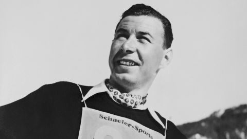 Undated file picture of Swiss alpine skier Karl Molitor who competed in the 1948 Winter Olympics. He won a silver medal in the Alpine combined event and a bronze medal in the downhill competition. (Photo credit should read STF/AFP/Getty Images)