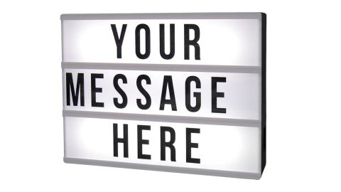 """<strong>A lightbox table lamp you can personalize with your own message ($19.99;</strong><a href=""""https://www.target.com/p/diy-lightbox-novelty-led-table-lamp-black-room-essentials-153/-/A-53216197"""" target=""""_blank"""" target=""""_blank""""><strong> target.com</strong></a><strong>)</strong>"""