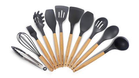 """<strong>An 11-piece kitchen utensil set with all the basic cooking tools you'll need ($29.99;</strong><a href=""""https://amzn.to/2WdlYSi"""" target=""""_blank"""" target=""""_blank""""><strong> amazon.com</strong></a><strong>)</strong>"""