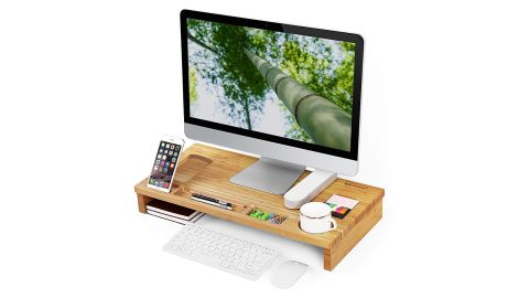 """<strong>This two-in-one bamboo monitor stand and desk organizer ($27.99; </strong><a href=""""https://amzn.to/2WbaleP"""" target=""""_blank"""" target=""""_blank""""><strong>amazon.com</strong></a><strong>)</strong>"""
