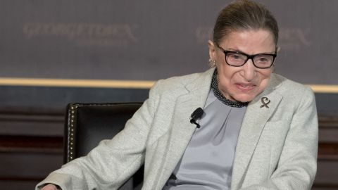 Associate Justice of the US Supreme Court Ruth Bader Ginsburg speaks at Georgetown University in Washington on April 27, 2017.