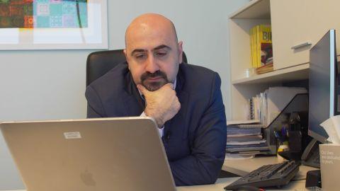 Dr. Joseph el-Khoury watches Idlib's drug users' testimonies.