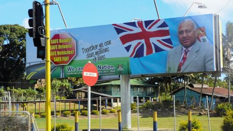 A billboard calling for support of acting prime minister Frank Bainimarama seen on September 14, 2014 in Suva, Fiji.